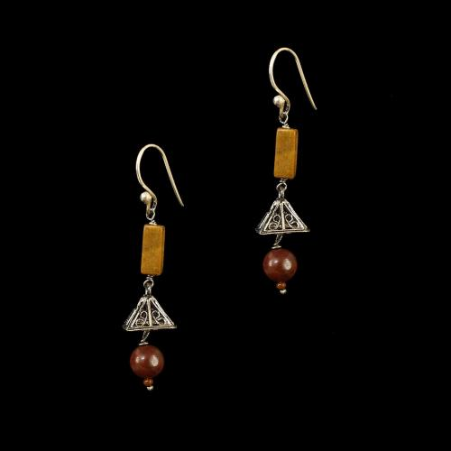 OXIDIZED SILVER EARRINGS WITH MUTI COLOR STONES