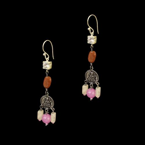 OXIDIZED SILVER LAKSHMI EARRINGS WITH QUARTZ AND CZ WITH SUN STONES