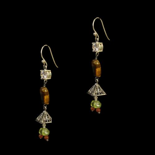 OXIDIZED SILVER HANGING EARRINGS WITH CZ  AND TIGER EYE