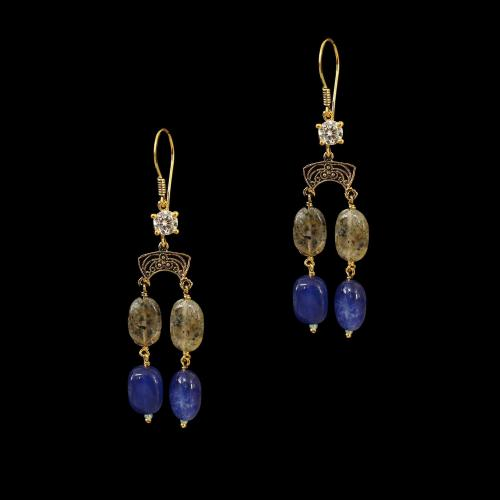 GOLD PLATED HANGING EARRINGS WITH MULTI COLOR STONES