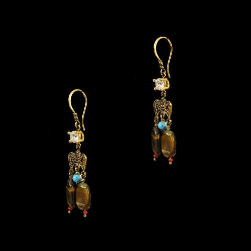 GOLD PLATED HANGING EARRINGS WITH TIGER EYE AND TURQUOISE