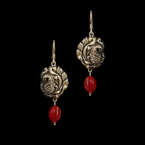 OXIDIZED SILVER PEACOCK EARRINGS WITH RED ONYX