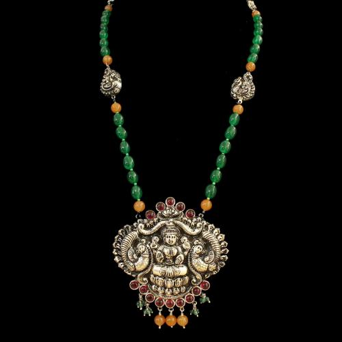 OXIDIZED SILVER LAKSHMI NECKLACE WITH GREEN AND RED OYNX WITH QUARTZ AND JADE BEADS