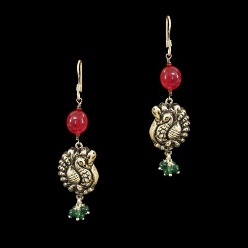 OXIDIZED SILVER LAKSHMI EARRINGS WITH RED ONYX AND JADE BEADS