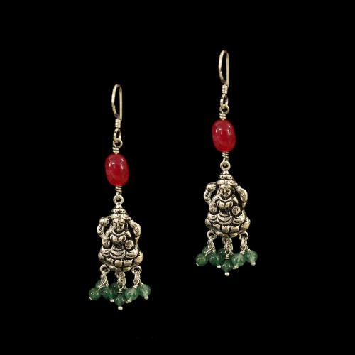 OXIDIZED SILVER LAKSHMI EARRINGS WITH RED OYNX AND JADE BEADS