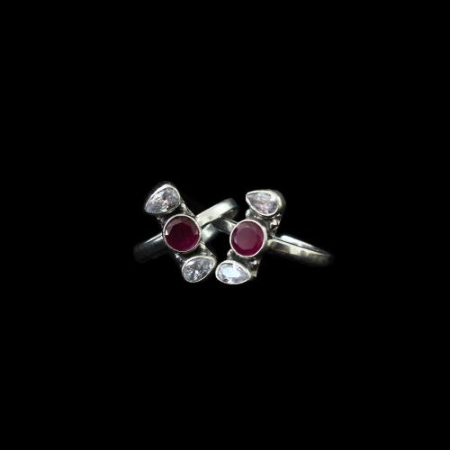 OXIDIZED SILVER RED COURNDUM AND CZ TOE RINGS