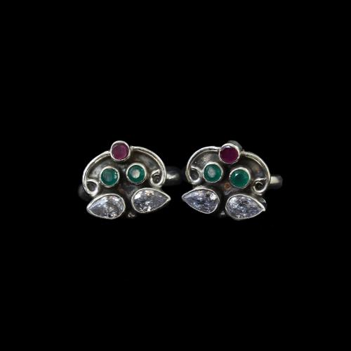 OXIDIZED SILVER RED CORUMDUM AND GREEN HYDRO WITH CZ TOE RINGS