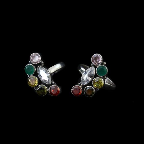 OXIDIZED SILVER RED COURNDUM GREEN HYDRO CZ TOE RINGS
