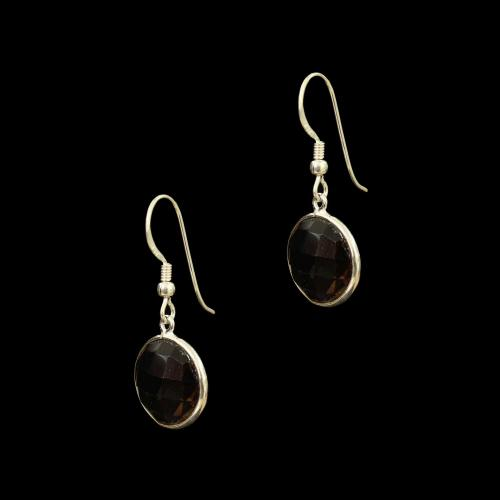 OXIDIZED SILVER ABALONE HANGING EARRINGS