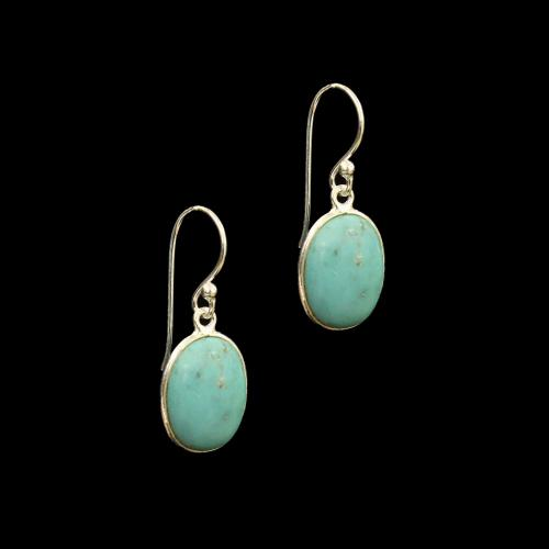 OXIDIZED SILVER TURQUOISE HANGING EARRINGS