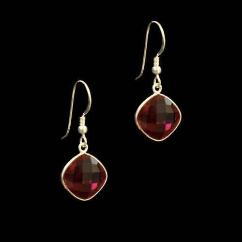 OXIDIZED SILVER PINK TOURMALIN HANING EARRINGS