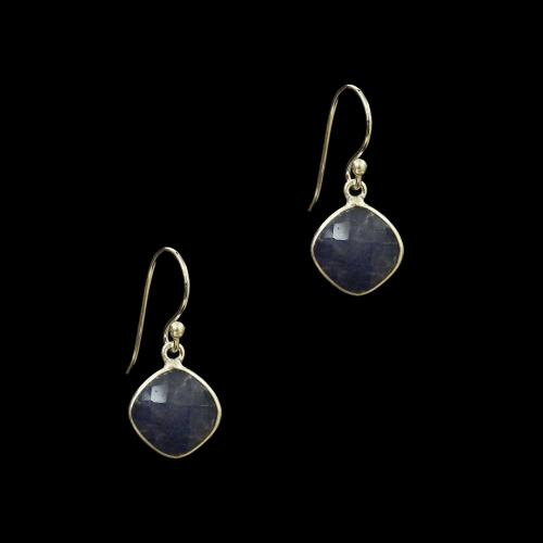OXIDIZED SILVER BLUE AGATE HANGING EARRINGS