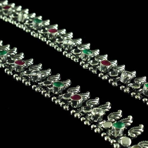 OXIDIZED SLIVER RED CORUNDUM AND CZ STONE ANKLETS