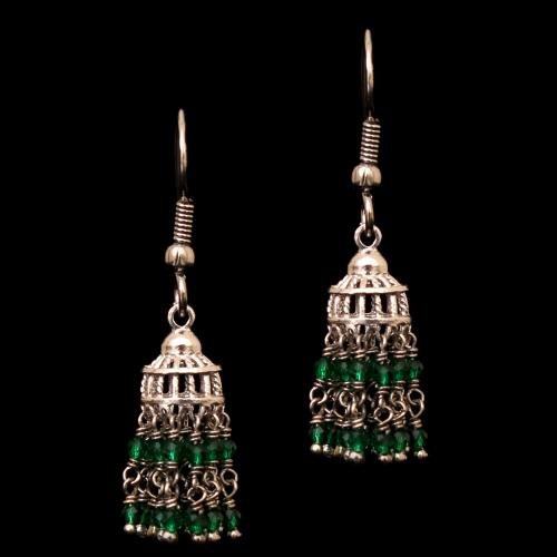 STERLING SILVER GREEN BEADS HANGING EARRINGS