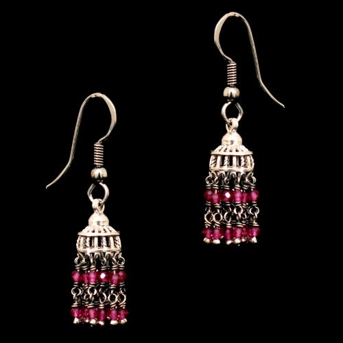 STERLING SILVER RED BEADS HANGING EARRINGS