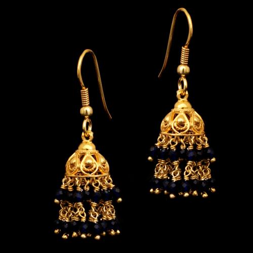 GOLD PLATED BLUE BEADS HANGING JHUMKAS