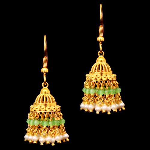 GOLD PLATED  GREEN BEADS AND PEARLS HANGING JHUMKAS