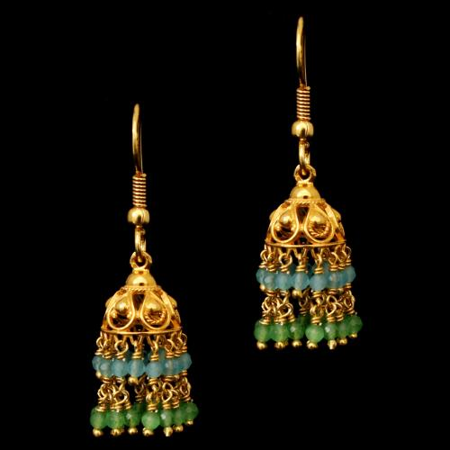 GOLD PLATED  GREEN AND BLUE BEADS  HANGING JHUMKAS