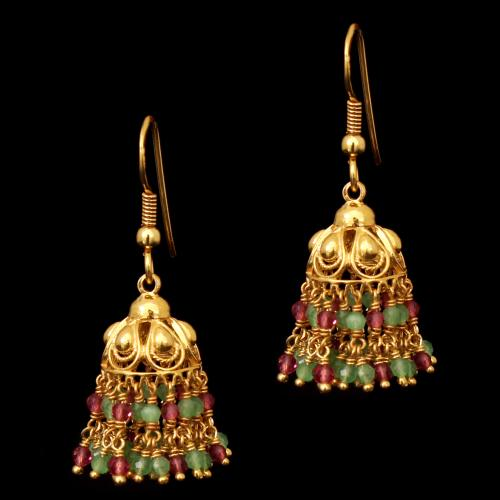 GOLD PLATED GREEN AND RED BEADS HANGING EARRINGS
