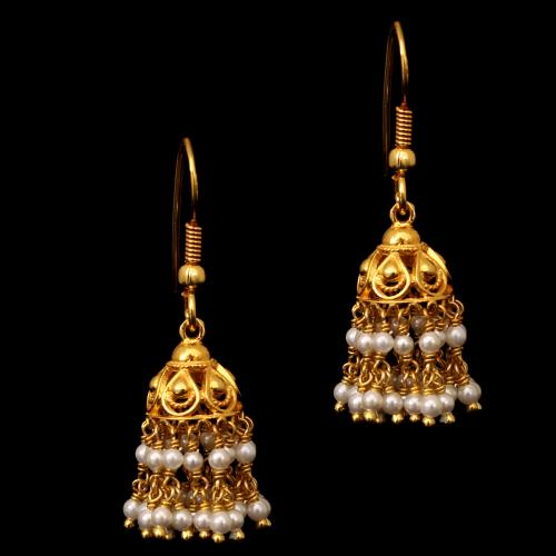 GOLD PLATED SHELL PEARL HANGING EARRINGS