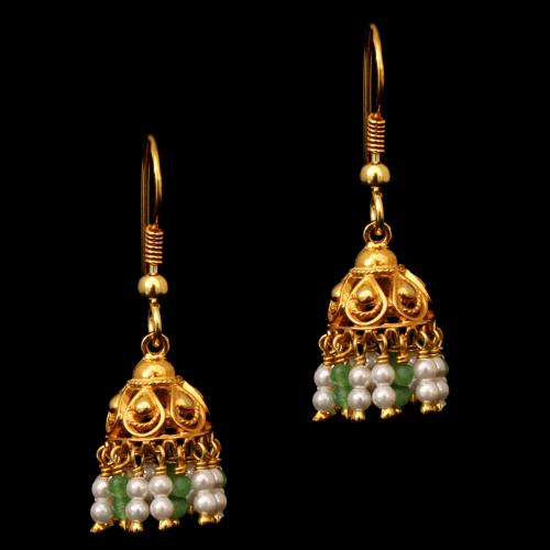 GOLD PLATED GREEN BEADS AND PEARL HANGING EARRINGS