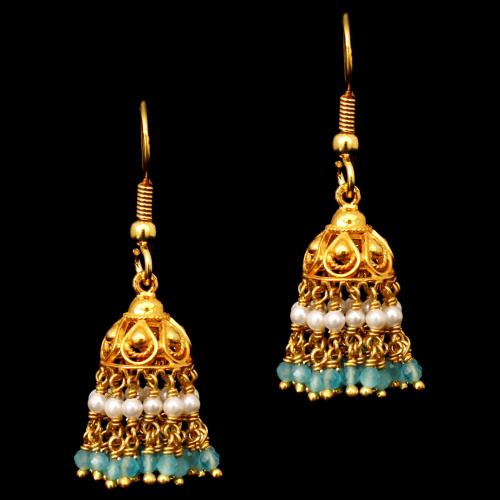 GOLD PLATED BLUE BEADS AND PEARL HANGING EARRINGS