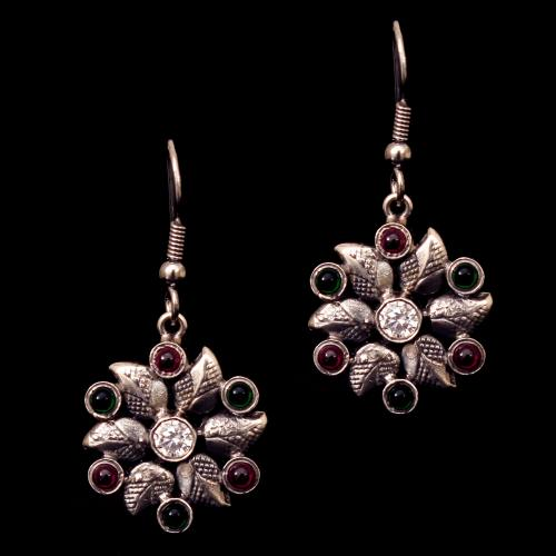 OXIDIZED SILVER RED OYNX AND GREEN HYDRO HANGING EARRINGS