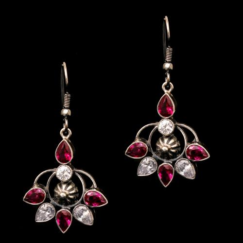 OXIDIZED SILVER RED OYNX WITH CZ STONE HANGING EARRINGS