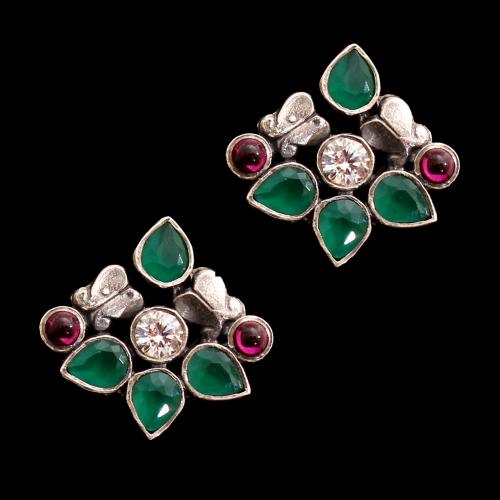 OXIDIZED SILVER CZ WITH GREEN HYDRO AND RED OYNX EARRINGS