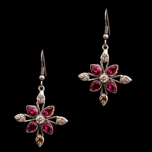 OXIDIZED SILVER CZ WITH RUBY HANGING EARRINGS