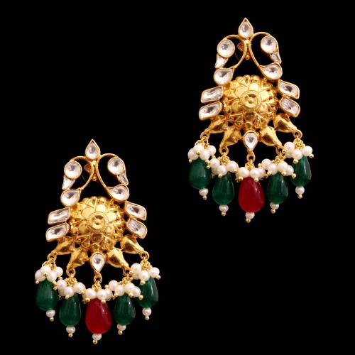 GOLD PLATED RUBY WITH KUNDAN STONE WITH PEARL DROPS EARRINGS