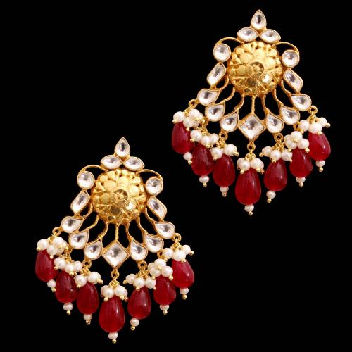 GOLD PLATED RUBY AND KUNDAN STONE WITH PEARL DROPS EARRINGS