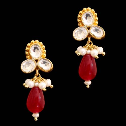 GOLD PLATED RUBY AND KUNDAN WITH PEARL DROPS EARRINGS