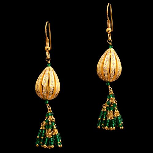 GOLD PLATED CZ WITH GREEN HYDRO HANGING EARRINGS