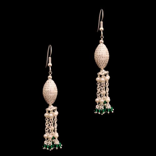 CZ AND BLACK BEADS WITH PEARL HANGING EARRINGS