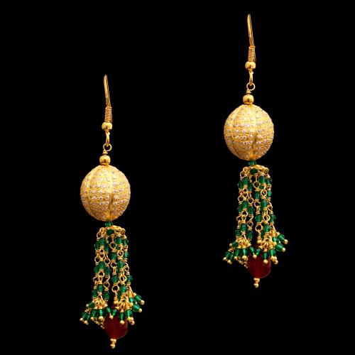 GOLD PLATED CZ AND RUBY WITH GREEN HYDRO HANGING EARRINGS