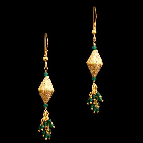 GOLD PLATED CZ AND RED BEADS HANGING EARRINGS