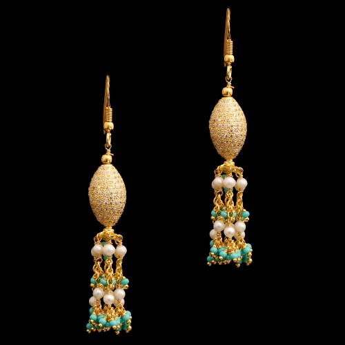 GOLD PLATED CZ ZND GREEN BEADS WITH PEARL HANGING EARRINGS