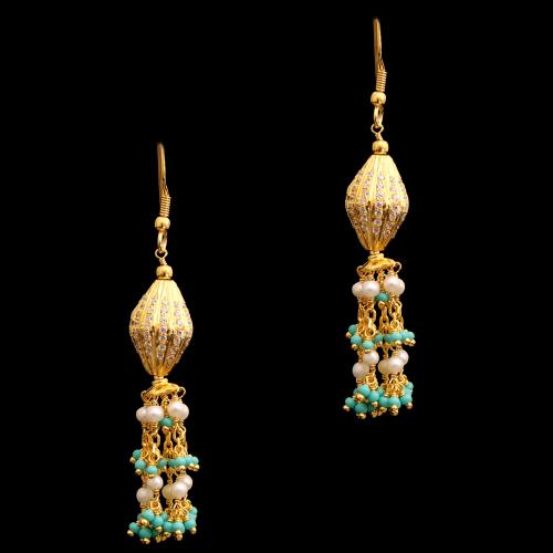 GOLD PLATED CZ AND TORQUISE WITH PEARL HANGING EARRINGS
