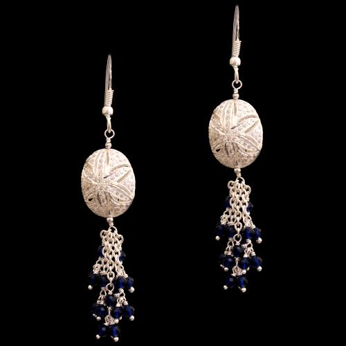 CZ AND BLUE BEADS HANGING EARRINGS