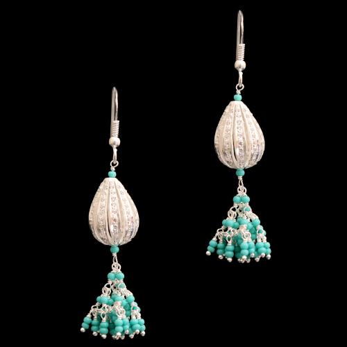 CZ HANGING EARRINGS WITH TURQUOISE BEADS