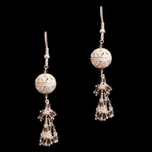 CZ AND BLACK BEADS HANGING EARRINGS