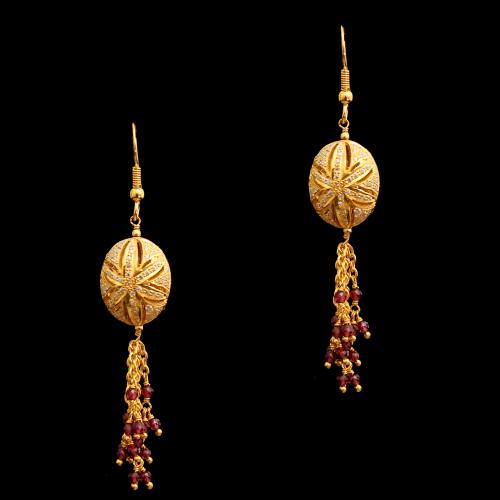 GOLD PLATED CZ AND GARNET HANGING EARRINGS