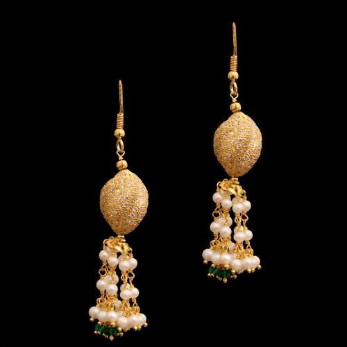 GOLD PLATED CZ AND GREEN BEADS WITH PEARL HANGING EARRINGS