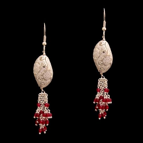 CZ AND RED BEAD HANGING EARRINGS