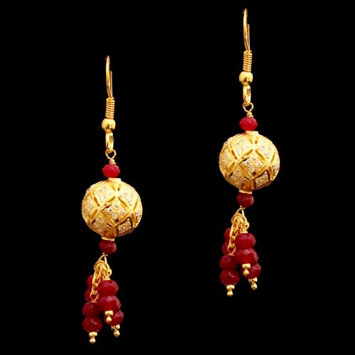 GOLD PLATED CZ AND BULE BEADS HANGING EARRINGS