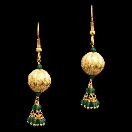 GOLD NPLATED CZ AND GREEN BEADS HANGING EARRINGS