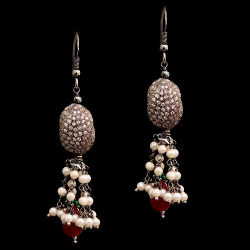 CZ AND RED AND GREEN BEADS WITH PEARL HANGING EARRINGS