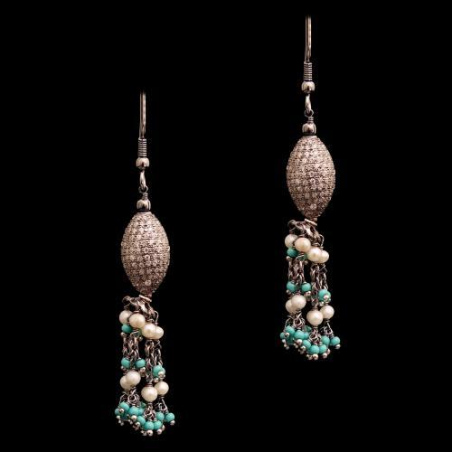 CZ AND TORQUISE WITH PEARL HANGING EARRINGS