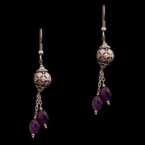 CZ AND AMETHYST HANGING EARRINGS